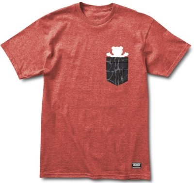 Grizzly Cement Pocket Tee, Heather Red