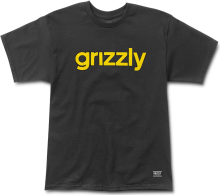 Grizzly Lowercase Logo Tee, Black Yellow