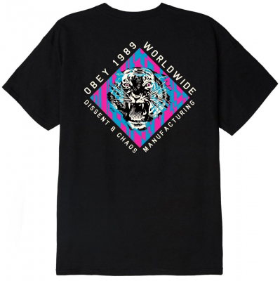 OBEY Dissent and Chaos Tiger Tee, Black