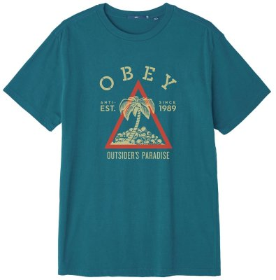OBEY Outsiders Paradise Superior Tee, Fresh Teal