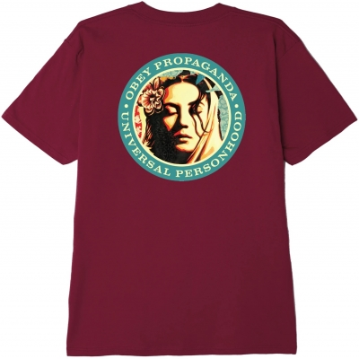 OBEY Universal Person Tee, Burgundy