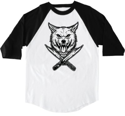 RDS X Wolfknives Wolf Banger 3-4 Sleeve Tee, White Black